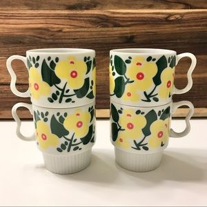 Vintage Japan Stackable Yellow Daisy Flower Mugs